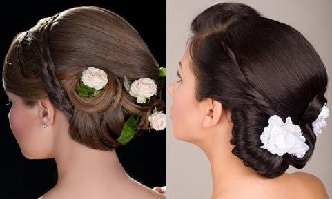 svadebnye-pricheski-s-butonom-tsvetka Какую свадебную прическу выбрать для брюнетки?