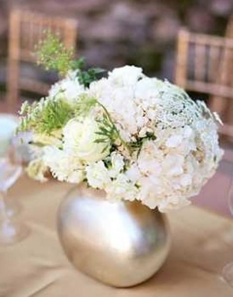 Сочетаем мех, стразы и блестки на гламурной свадьбе в золотом и бирюзовом цвете