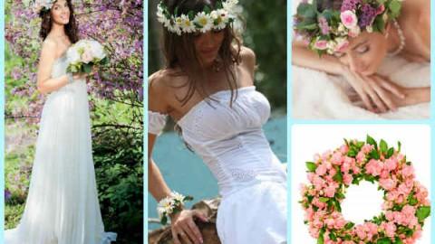 Венки на голову из цветов на свадьбу, нежный свадебный аксессуар для волос невесты