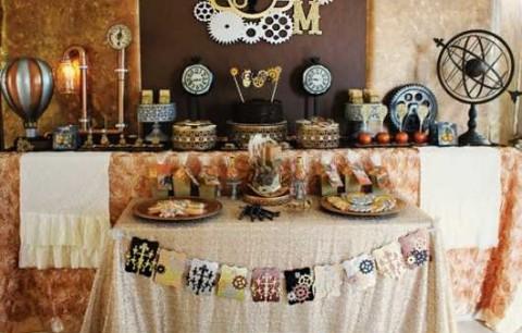 Буйство шестеренок, механизмов и металлов в удивительном свадебном Кэнди Баре в стиле Стимпанк