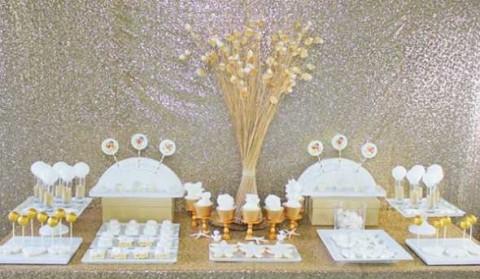 Делаем гламурный Кенди Бар на свадьбу в золотом цвете с добавлением белого декора
