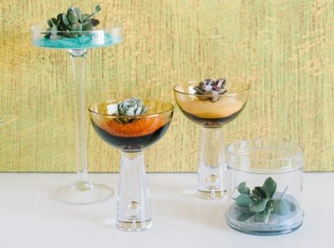 Мастер класс: декор для свадьбы из суккулентов и песка, интересная замена привычных цветочных композиций