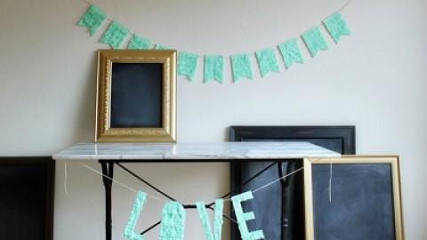 Мастер класс: декор для свадьбы из гофробумаги яркая надпись и гирлянда