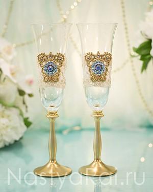 продажа Бокалы свадебные золотые