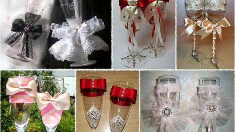 Уникальные бокалы для свадьбы — своими руками